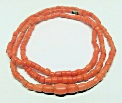 Antique Vintage Old Natural Coral Undyed Beads Necklace Russian 21.14 g
