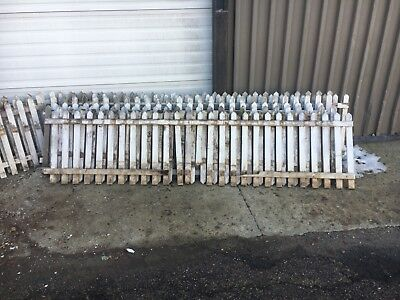 "c1920 antique wooden picket fence sections old white 67'+ x 24"" high w gate"