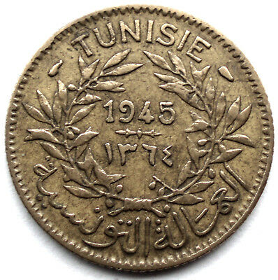 Tunisia French Protectorate 1 Franc 1945-1364 Km#247 Kk10.5