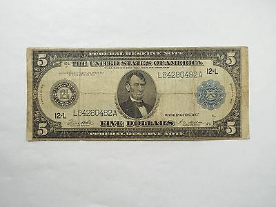 BARGAIN Series 1914 Large Size Blue Seal $5 Fed Res Note 12-L SF FINE Fr#891-A