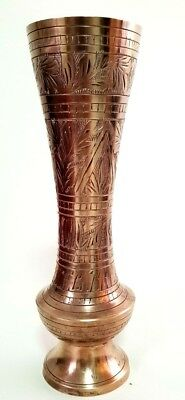 Amazing Antique Egyptian Style Copper  Vase  Art  Brass Old Handmade Craft