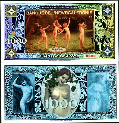 Newdgaledonie Specimen 1000 Francs Nude Naked Frolicking Ladies Money Art Note!