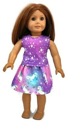 """Unicorn Top & Skirt 18"""" Doll Clothes fits American Girl dolls"""