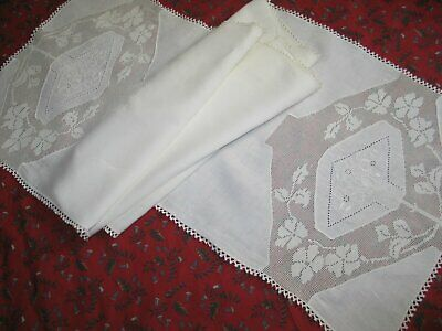 "ANTIQUE Table Runner Hand Embroidery & Lace -70"" by 19"" Exquisite!"