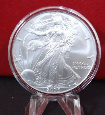 2005 Silver American Eagle BU 1 oz Coin $1 Dollar Uncirculated Toning U.S. Mint