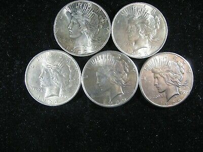 1922, 23, 24, 25 & 1926 Au Or Better Peace Silver Dollar 5 Total Coins 1 Ea Date