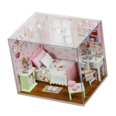 DIY Dollhouse Miniature Room Set Wooden Furniture Kit Mini 3D Building Toys