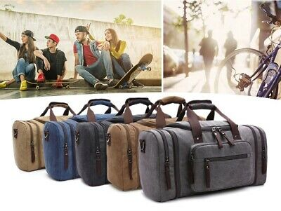 ecdd664fd9 CANVAS OVERNIGHT BAG Travel Duffel Genuine Leather for Men and Women ...