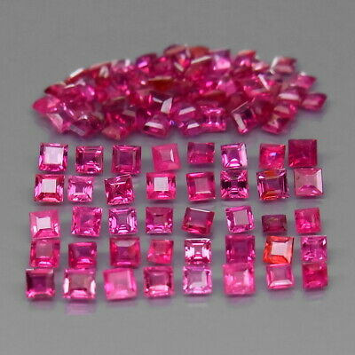 Square 1.5 to 2 mm.Rare! Thailand Top Pinkish Red Ruby (No Glass) 100Pcs/4.06Ct.