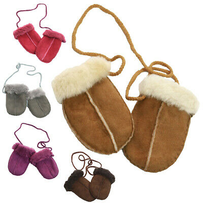 Genuine Full Sheepskin Baby Kids Puddy Mittens Unisex Keep Safe Cord Girls Boys