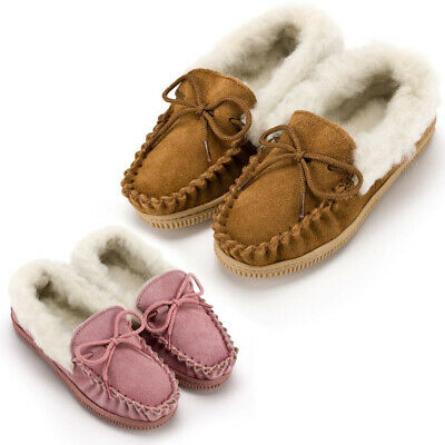 Childrens Kids Genuine Suede Moccasin Slippers Soft Wool Lining Non Slip Sole
