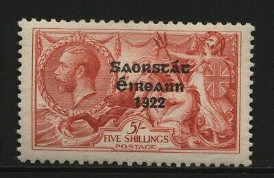 Ireland KGV 5/- Red Seahorse 1922 Irish Free State Ovprt Stamp Mounted Mint