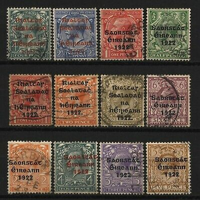 Ireland Collection 12 KGV 1922 Ovprt Stamps Used