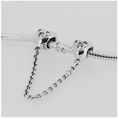 Authentic Genuine Pandora Silver Charm Disney Mickey Mouse Safety Chain Charms