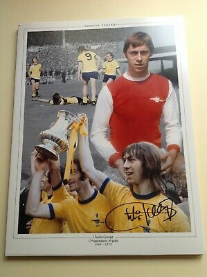"Arsenal Legend Charlie George-  Hand Signed 16"" X 12"" picture With COA"