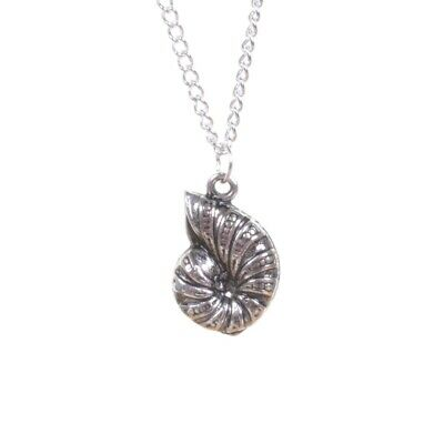 Silver Ammonite Pendant Necklace Vintage Fossil Geology Science Geek