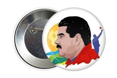 Badge Pin Button 38 mm Nicolas Maduro Venezuela Chavez Bolivar