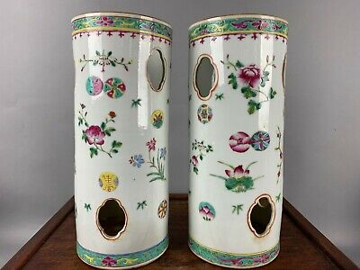 19th/20th C. Chinese Pair Famille-rose Porcelain Hat Stands