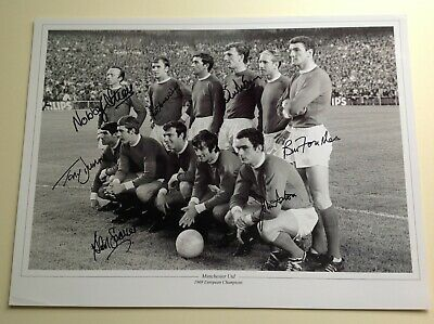 """Manchester Utd 1968 Euro Champs - Hand Signed by 7 - 16"""" X 12"""" picture With COA"""