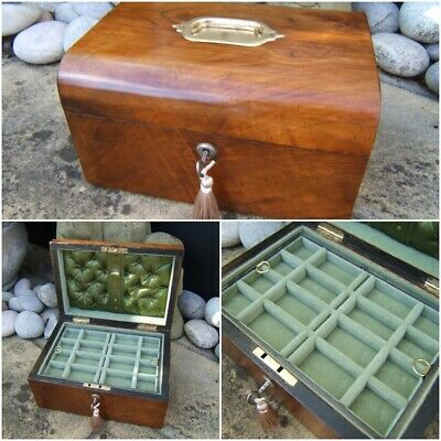 Lovely 19C Figured Walnut Antique Jewellery Box - Fab Interior