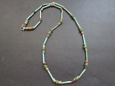 NILE  Ancient Egyptian Glass Amulet Mummy Bead Necklace c ca 600 BC