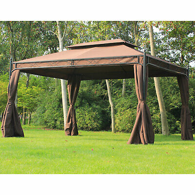 10x13ft Garden Gazebo Double-Tiered Outdoor Shelter w/ Curtain Coffee