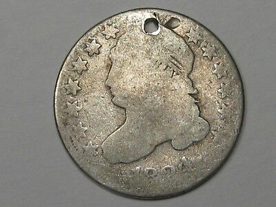 Key 1824/2 (Over-Date) US Capped Bust Dime (w/ Hole).  #17