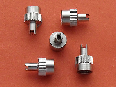 5 New Metal Schrader Car Tyre Valve Dust Caps Classic **silver Hd**