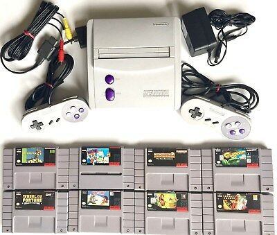 Vintage Super Nintendo Snes-101 Mini Game Console +2 Controllers & 8 Great Games