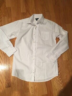 970200ced Tommy Hilfiger White Long Sleeve Button Dress Shirt Boys Youth Size 18 EUC
