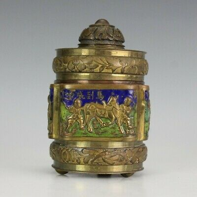 Chinese Export Brass Enamel Figural Cow Herder Lidded Trinket Jewelry Box NR PKE