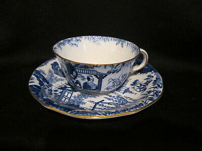 Royal Crown Derby BLUE MIKADO - Teacup and Saucer - Low