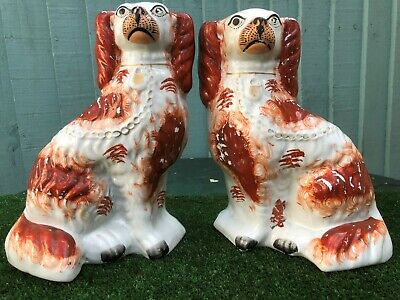 SUPERB PAIR: MID 19thC STAFFORDSHIRE RUSSET RED & WHITE SPANIEL DOGS c1860s