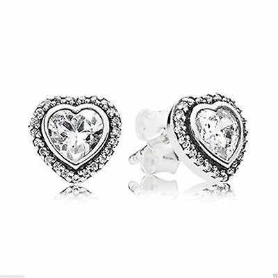 c404c9cc7 NEW AUTHENTIC PANDORA 925Silver 290568CZ Sparkling Love Heart Stud ...