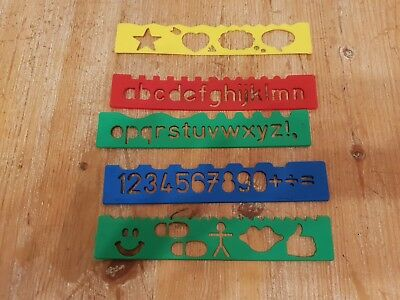 5 Helix Stencil Rulers - Numbers, Letters, Alphabet, Symbols - School, Craft