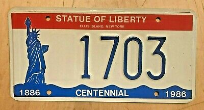 "1986 New York Statue Of Liberty Souvenir Anniv 100 Yrs License Plate "" 1703 "" Ny"
