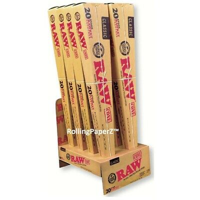 RAW Rawket Launcher Pre Rolled Cone Set Full Display Box 8 Packs X 20 =160 Cones