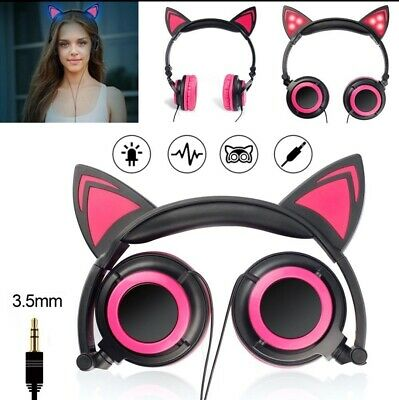Foldable LED Cat Ear Headphones for Galaxy and some Apple products FREE SHIPPING