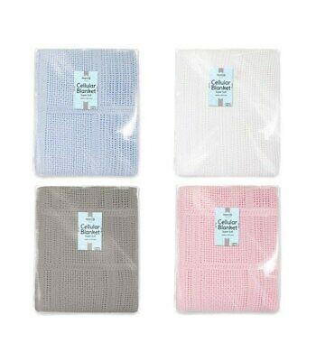 100% Cotton Cellular Soft Baby Blanket for Cot Pram Moses Basket, 60x90cm
