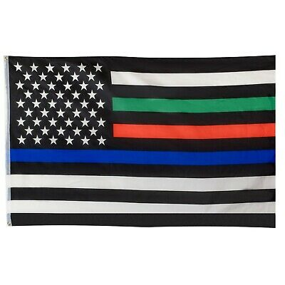 USA Flag - Supporting Military, Fire and Police - 3 x 5 Foot Flag