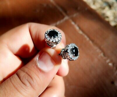 1.75Ct Round Cut Black Diamond Halo Stud Earrings Solid 14K White Gold Finish