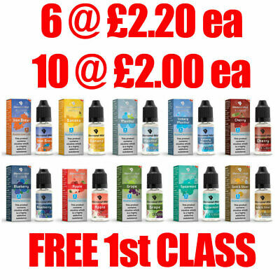 Diamond Mist E Liquid Vape Juice Ecig 10ml 0mg,3mg,6mg,12mg,18mg & 20mg Salt