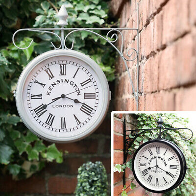 Vintage Shabby-Chic Kensington Station Wall Clock Dual Face Outdoor Garden Decor
