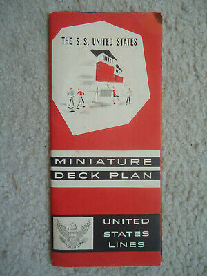 United States Lines - ss United States - Miniature Deck Plan - 1962