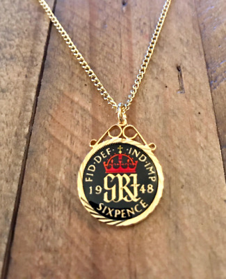 4332103729991 90TH BIRTHDAY GIFT. VINTAGE 1929 ENAMEL LUCKY SIXPENCE COIN PENDANT ...