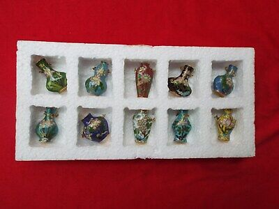 CLOISONNE Chinese Set of 10 Miniature Vases Pots with Various Designs