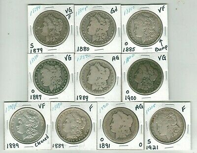 Lot of 10 Morgan Silver Dollar - AG to VF - 1879 to 1921 - P O S Mints