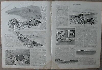 """1887 Antique Engravings - """"Byways of New Zealand"""" - North Island & South Island"""