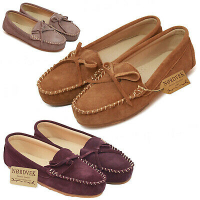 Ladies Genuine Suede Moccasin Slip On Loafer Pumps Womens With Hard Sole