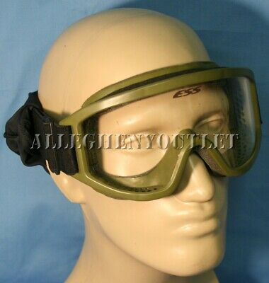 US Military ESS Land Ops Striker Series Goggles OD w/ Black Stealth Sleeve GC